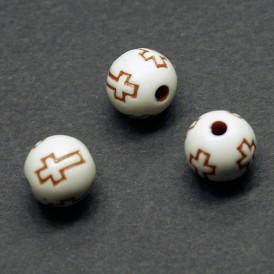 십자가무늬 라운드 10mm(브라운) - 5개